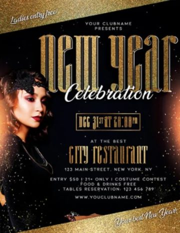 Free New Year Celebration Flyer PSD Template
