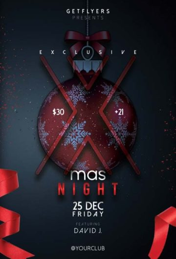 Free Xmas Night PSD Flyer Template