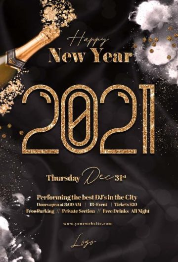 Happy New Year Party Free Flyer Template