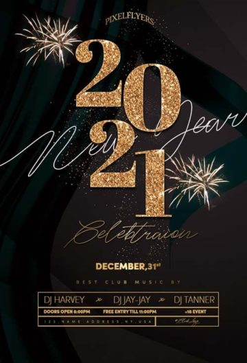 New Year Event 2021 Free Flyer Template