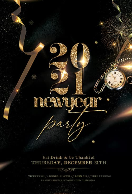 New Years Eve 2021 Free Flyer TemplateNew Years Eve 2021 Free Flyer Template