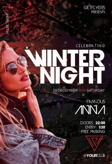 Winter Night Party Free Flyer Template