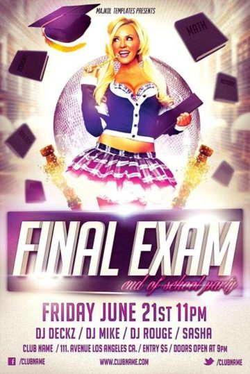 Free Final Exam Party Flyer Template