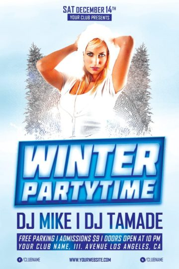 Winter Party Time Free PSD Flyer Template