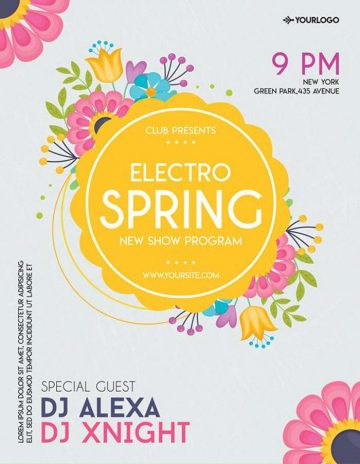 Electro Spring Party Free Flyer Template