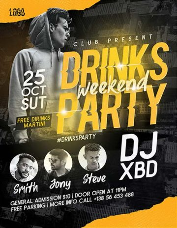 Free Drinks Party Flyer PSD Template