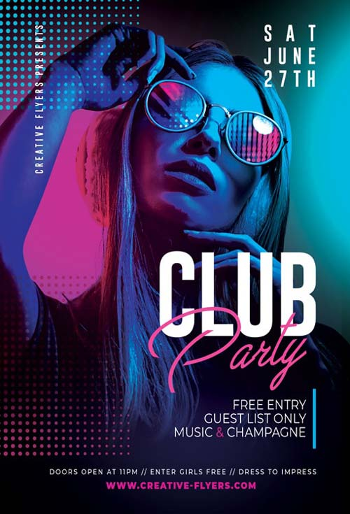 Free Night Club Party PSD Flyer Template