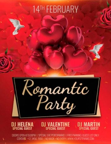 Romantic Party Free PSD Flyer Template