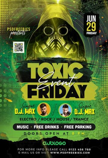 Toxic Party Free PSD Flyer Template