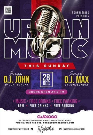 Urban Music Party Free PSD Flyer Template