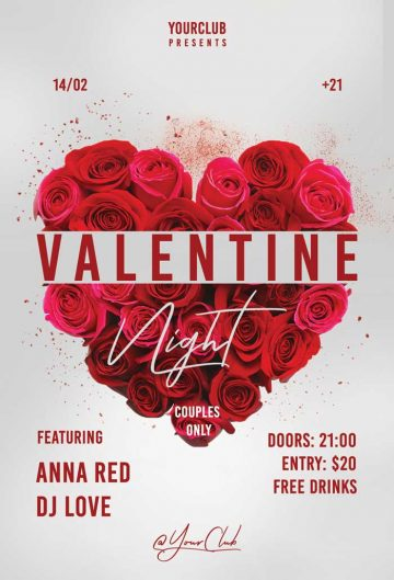Valentine Night Free Flyer Template