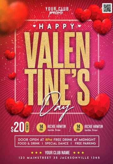 Valentines Day Special Event Free Flyer PSD Template