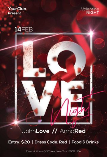 Valentines Love Night Free Flyer Template