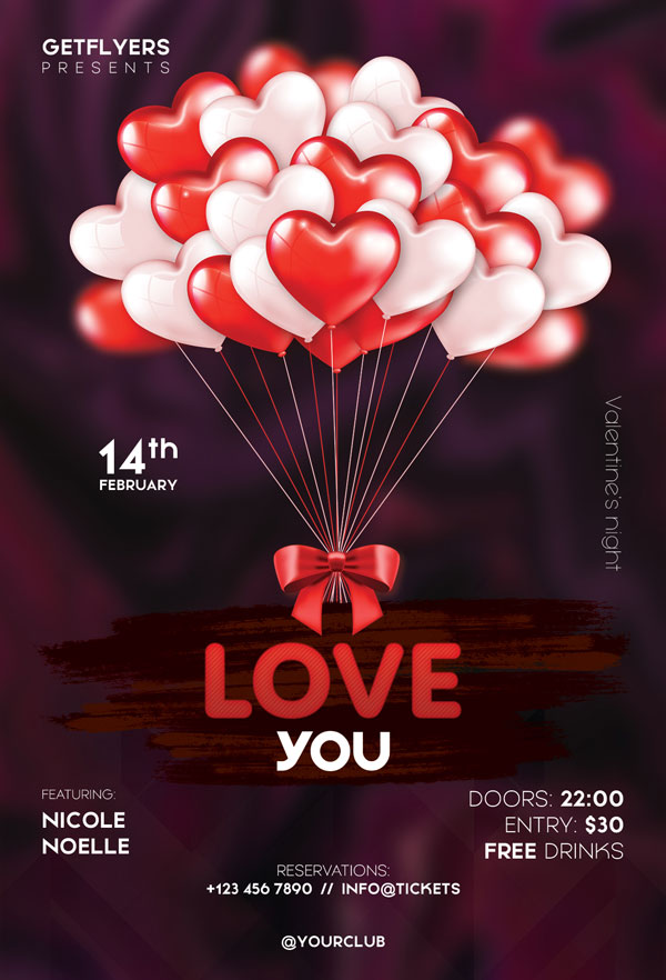 Valentines Love Party Free Flyer Template