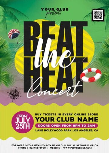 Beat the Heat Summer Free PSD Flyer Template