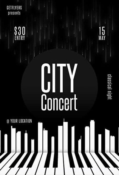 Piano Concert Free PSD Flyer Template