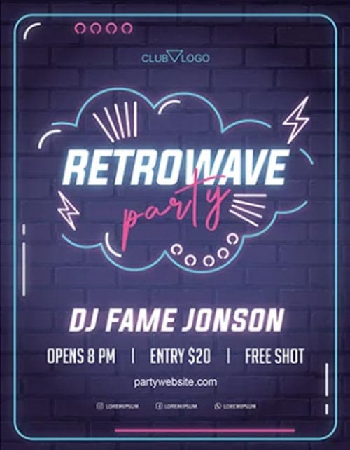 Retro Wave Neon Party Free Flyer Template