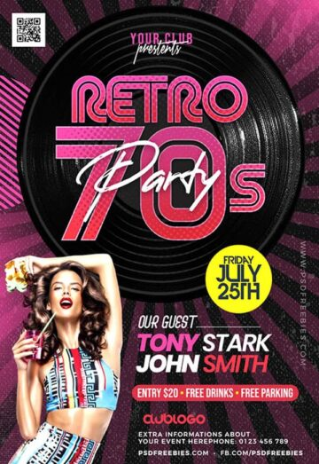 Free Retro Theme Music Party Flyer Template