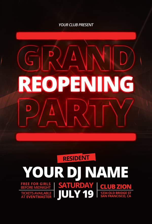 Grand Opening Free PSD Flyer Template