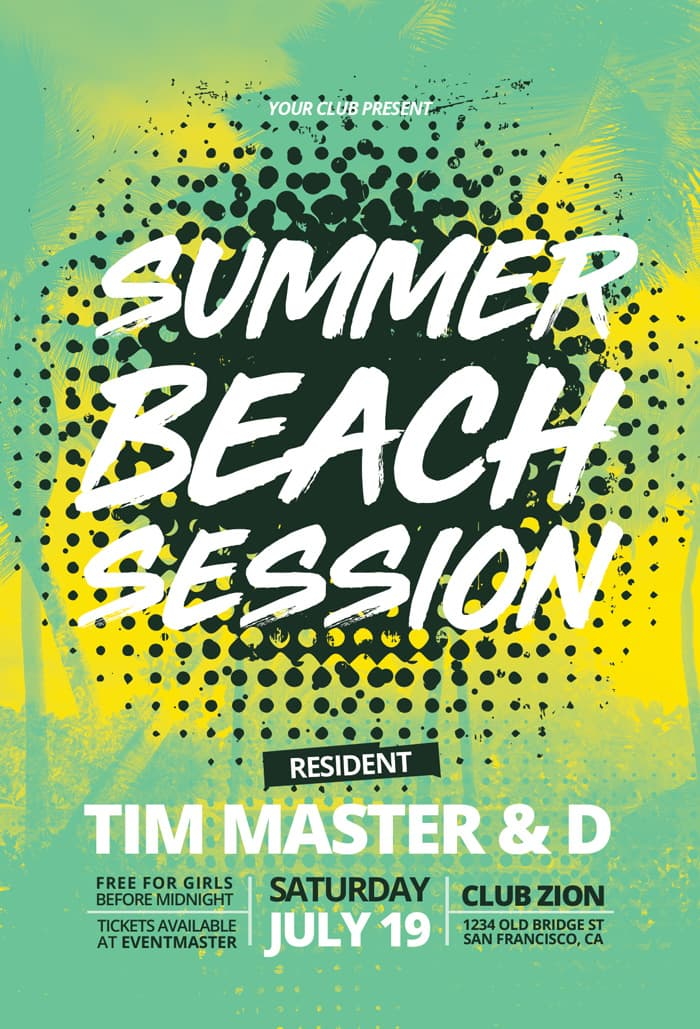 Summer Beach Session Free PSD Flyer Template