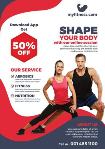 Body Fitness Online Session Free PSD Flyer Template