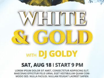 White & Gold Party Free Flyer Template
